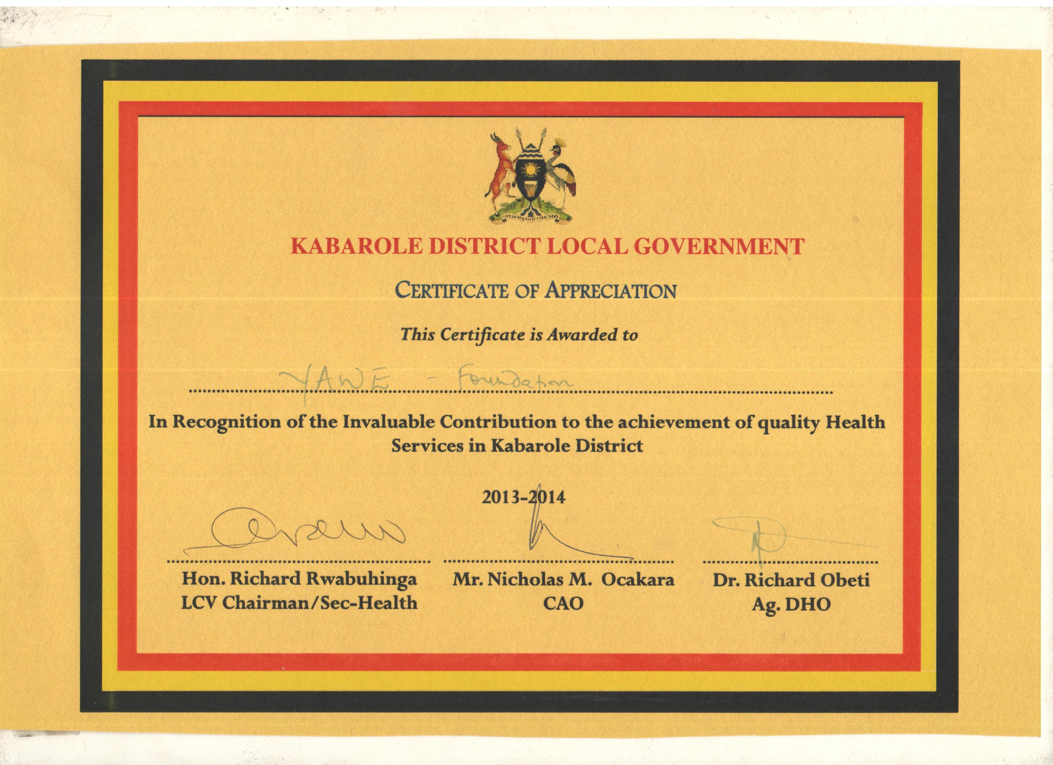 Yawe medical center yawe foundation yawe foundation certificate of recognition for providing quality health services in kabarole district yelopaper Choice Image